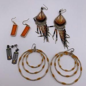 Lot of 4 gold, orange & earth tone earrings
